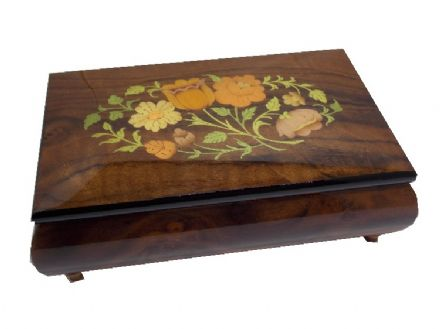 Walnut Musical Jewellery Box With Floral Inlay MAD420FLBRL